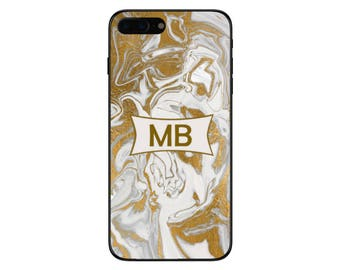 Personalised Name Initials Liquid Gold Marble Phone Case for Apple Iphone and Samsung Galaxy 5 6 6s 7 8 10