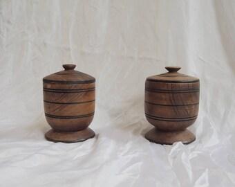 Vintage Wooden Pots With Lids