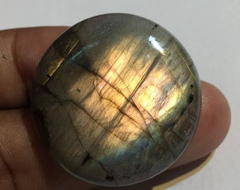 68.7 Cts 100% Natural Medagascar's Labradorite Cabochon Yellow Fire Polished Cabochon Healing Quartz Round Shape 32x32x7 mm N#1477-52