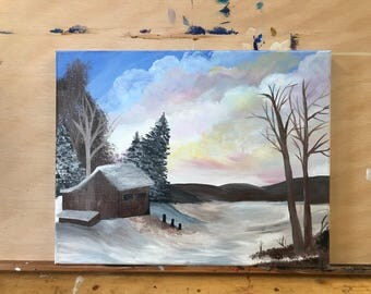 "14"" x 11"" Acrylic Cabin and Nature Painting on Staple Back Canvas"