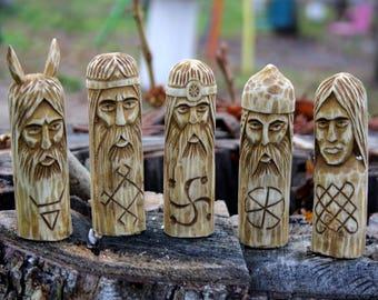 Set of wooden figurines.Hand Carved Wooden Slavic Pantheon. Perun, Lada, Rod, Svarog, Veles