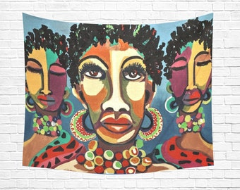 "African Women Wall Tapestry 60""x 51"""