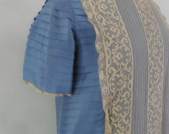 Blue Silk and Ecru Lace Dress From the 1940s