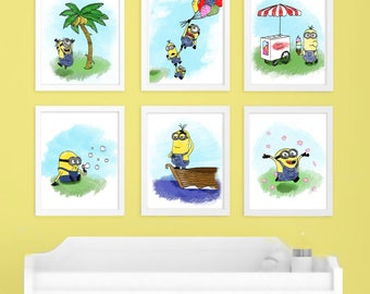 Minions Inspired Nursery Kids Room Art