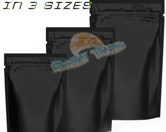 Zip Lock Stand Up Bags Pouches Black Metallic Available in 3 Sizes- 4oz-8oz-1lb