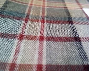 "Woven 100% Cotton Red, Beige & Green Tartan Fabric Sample 45"" x 28"""