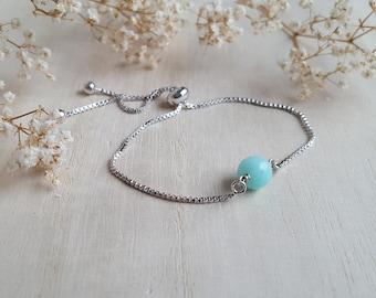 Amazonite Bracelet Bolo Sliding Adjustable Bracelet  Silver Chain Slide Bracelet Wedding Favor Sister Gift for Girlfriend Gemstone Bracelet