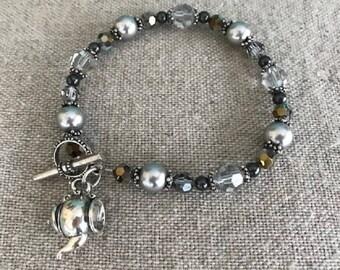 Swarovski crystal and Swarovski pearl tea bracelet teapot charm sterling silver gray