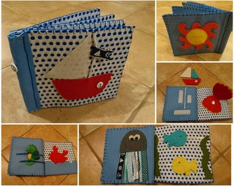 By the sea- quiet book for baby/toddler, handmade felt book, soft book, busy book, educational toy,  developmental toy, 1st birthday gift