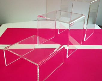 "Acrylic Display Cubes/Risers - 4"" x 4"" x 4"" - Qty of 4"