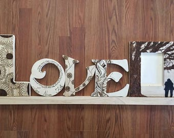 Custom Wood Burned Word with Picture Frame