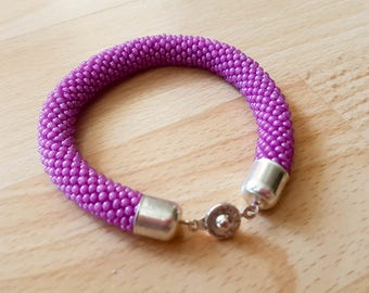 Purple Beaded Rope Bracelet