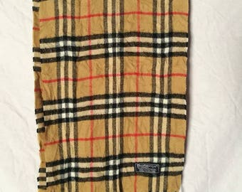 Vintage Burberrys Scarf Vintage 100% Lamerswool Nova Check Made in England