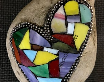Mosaic Rock Multicolor Heart