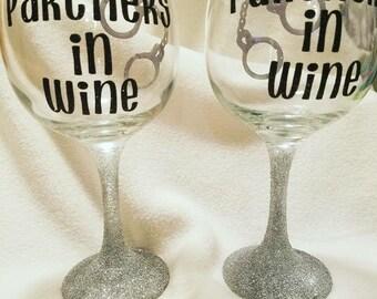 Partners in wine best friend wine glasses