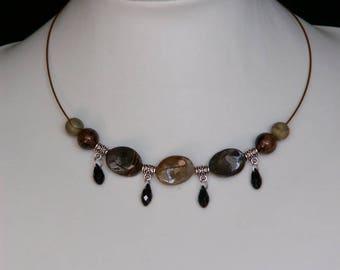 Jasper Choker Necklace with Goldstone and Swarovski Tear Drop Beads