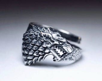 Antique Silver Celtic Viking Norse Ring - Stark Wolf