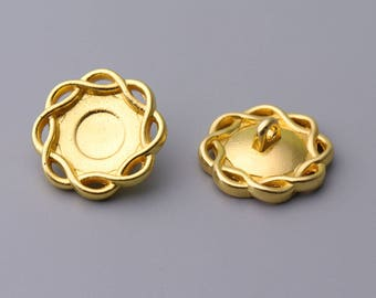 Metal Buttons-10pcs 21mm Flower Shaped Button Gold Metal Shank Button