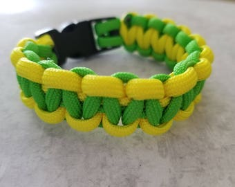Green and Yellow Paracord Bracelet