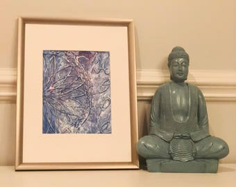 """Hope - 17""""x13"""" acrylic paint pour with 3D mandala - in silver frame & white mat hand painted -"""