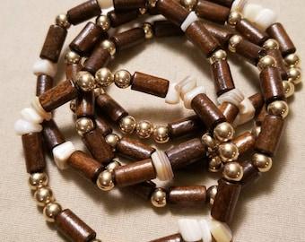 Wood boho bracelet set