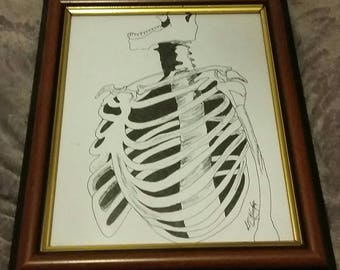 Mister Bones- Original Ink Drawing- Framed and ready for its forever home!