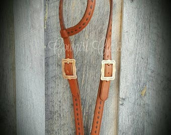 Handmade Leather Headstall with Buckstitch