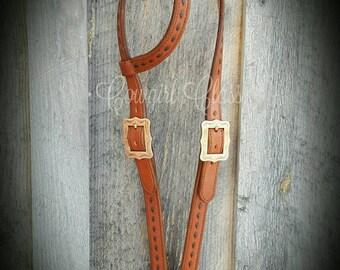 Handmade Leather Headstall with Buckstitch