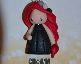 Baby dress black polymer clay glitter, red hair - Collection bridesmaid jewelry - handmade jewelry