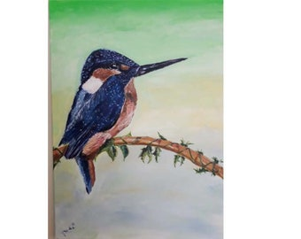 kingfisher,bird painting,acrylic painting,canvas