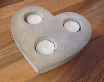 Concrete Heart Tealight Candle Holder