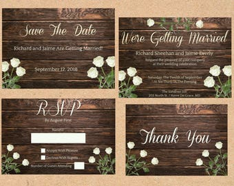 Wedding Invitation/RSVP Card/Save The Date/Thank You Card/Roses&Wood Collection