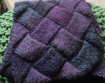 Purple Entrelac Scarf