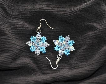 "Beaded earrings ""Snowflake"""