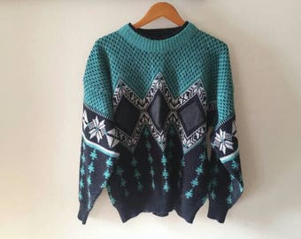 Vintage Leather Patch Sweater - Size XL - Cozy Winter Nordic Sweater - Turquoise 80s Sweater with Leather Patches - Hipster Sweater -