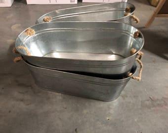 Long Silver Drink Tubs Vintage Look