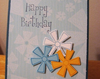 Blue, yellow, white flower Birthday card