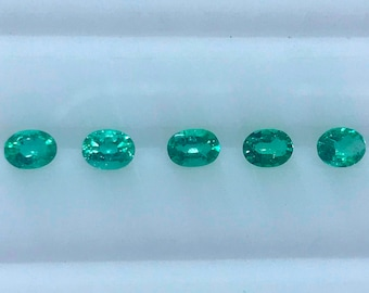 0.75Cts. AAA Natural Colombian Emerald 4X3MM Oval Cut 5Pcs. Set For Diamond Jewelry
