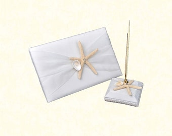 2pcs/lot Starfish Wedding Guest Book with Pen