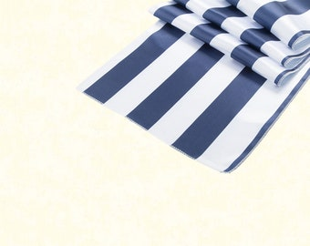 Navy Blue & White Stripe Table Runner