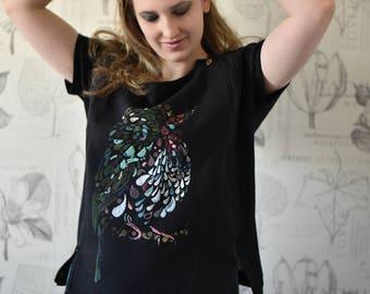 "T-shirt, handpainted, embroidery, handmade print ""bird"", with zipper"