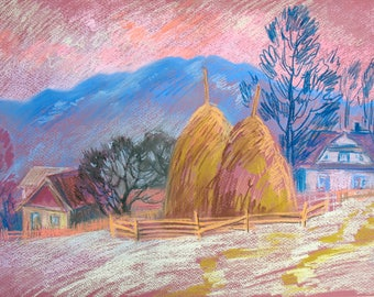 Pastel drawing, Winter Mountains, Evening Landscape, Mountain village, Original drawing, Winter trees, Pastel art by Anna Trachuk