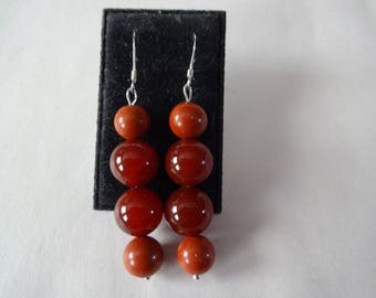 Two tone carnelian earrings