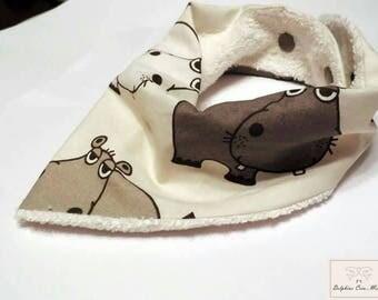 Bandana bib - printed hippo