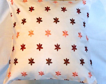 Floral Cushion cover/ Embroidered Salmon pink brown flowers/ 16x16''/ 18x18''/ 20x20''/ square cushion cover/ White pink brown cushion cover