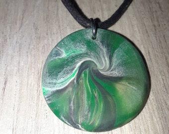 Swirl green pendant, polymer clay