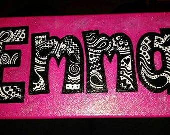 Decorative name-  hand painted canvas