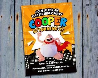 Captain Underpants Party Invite, Superhero Birthday Card Invitation, Movie Printable Digital Invitations, Custom Hero Printables