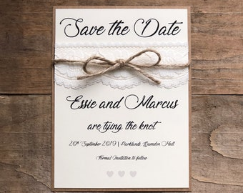 Lace and Twine save the date