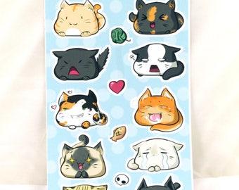 Blobcat Stickersheet single cut kisscut sticker sweet cat Cat Kawaii